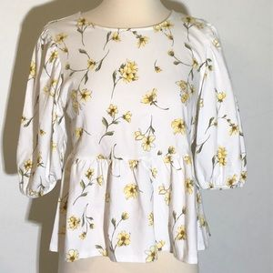 Ladie's White & Yellow Floral Peplum Top